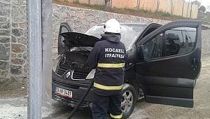 Seyir halindeki aracın motoru alev aldı