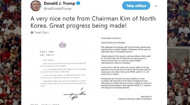 Trump, Kim'den gelen mektubu yayınladı!