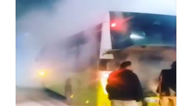 Çayırova'da otobüs alev aldı!