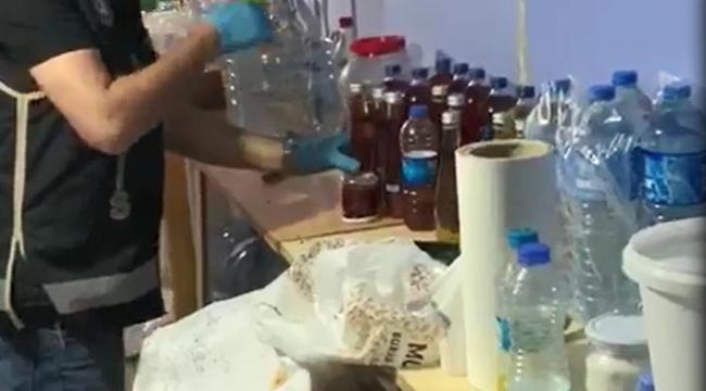 İçki imalathanesine çevrilen eve baskın