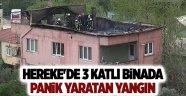 Hereke'de 3 katlı binada panik yaratan yangın